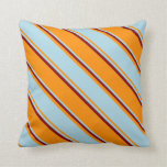 [ Thumbnail: Dark Orange, Light Blue, and Maroon Lines Pillow ]
