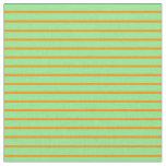 [ Thumbnail: Dark Orange & Light Green Colored Lined Pattern Fabric ]