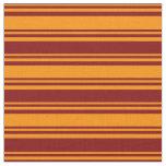 [ Thumbnail: Dark Orange & Maroon Lined Pattern Fabric ]