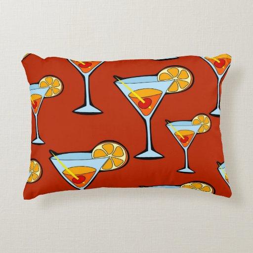 Dark Orange Decorative Pillows : Dark Orange Martini Cocktail Pattern Decorative Pillow Zazzle