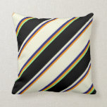 [ Thumbnail: Dark Orange, Midnight Blue, Beige, Black & Green Throw Pillow ]