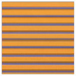 [ Thumbnail: Dark Orange & Midnight Blue Striped/Lined Pattern Fabric ]