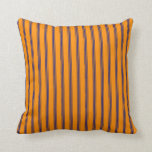 [ Thumbnail: Dark Orange & Midnight Blue Striped/Lined Pattern Throw Pillow ]