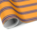 [ Thumbnail: Dark Orange & Midnight Blue Striped/Lined Pattern Wrapping Paper ]