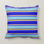[ Thumbnail: Dark Orange, Mint Cream, Blue, Sky Blue, and Black Throw Pillow ]