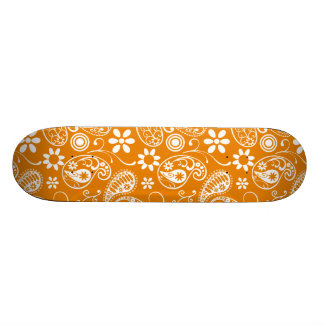 Dark Orange Paisley Skate Board Decks