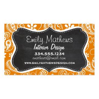 Dark Orange Paisley; Vintage Chalkboard look Double-Sided Standard Business Cards (Pack Of 100)
