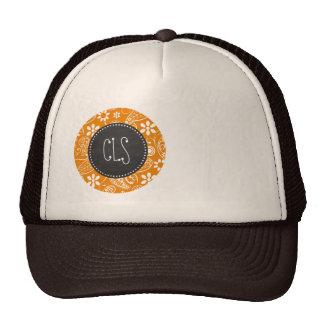 Dark Orange Paisley; Vintage Chalkboard look Hats
