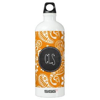 Dark Orange Paisley; Vintage Chalkboard look SIGG Traveler 1.0L Water Bottle