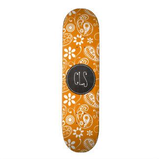 Dark Orange Paisley; Vintage Chalkboard look Skate Board