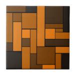 Dark Orange Parquet Design Tile