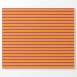 [ Thumbnail: Dark Orange, Pink & Red Colored Lines Wrapping Paper ]