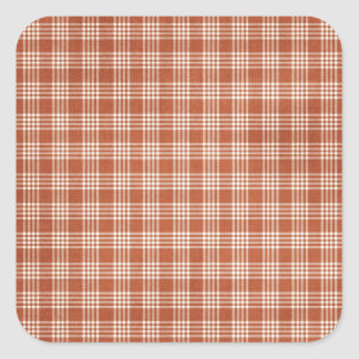 Dark Orange Plaid Square Sticker