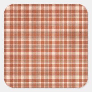 Dark Orange Plaid Square Sticker