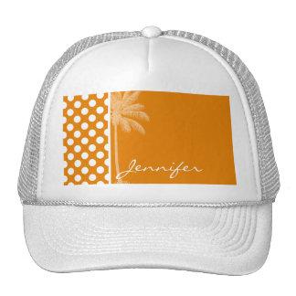 Dark Orange Polka Dots; Summer Palm Trucker Hat