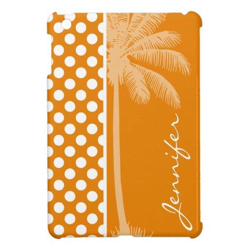 Dark Orange Polka Dots; Summer Palm iPad Mini Cover