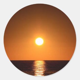 Dark Orange Sunset with Ocean Reflection Classic Round Sticker