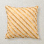 [ Thumbnail: Dark Orange & Tan Stripes Throw Pillow ]