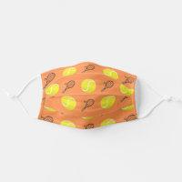 Dark Orange Tennis Rackets and Balls Play Game Cloth Face Mask