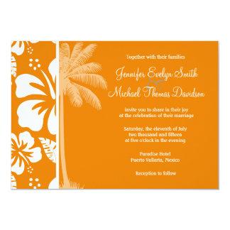 Dark Orange Tropical Hibiscus; Summer Palm Custom Invitation