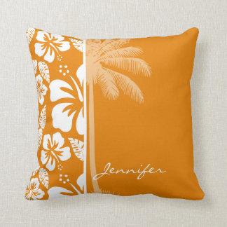 Dark Orange Tropical Hibiscus; Summer Palm Throw Pillow