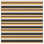 [ Thumbnail: Dark Orange, White, and Black Lines Fabric ]