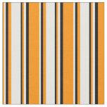 [ Thumbnail: Dark Orange, White, and Black Stripes Pattern Fabric ]