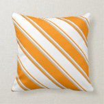 [ Thumbnail: Dark Orange, White, and Grey Colored Pattern Throw Pillow ]