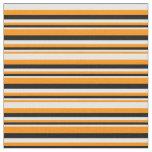 [ Thumbnail: Dark Orange, White & Black Lines Pattern Fabric ]