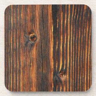 Dark orange wooden wall texture beverage coaster