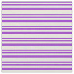 [ Thumbnail: Dark Orchid and Beige Colored Striped Pattern Fabric ]