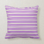 [ Thumbnail: Dark Orchid and Beige Colored Striped Pattern Throw Pillow ]