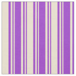 [ Thumbnail: Dark Orchid and Beige Lined/Striped Pattern Fabric ]