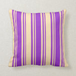 [ Thumbnail: Dark Orchid and Beige Lined/Striped Pattern Pillow ]