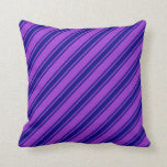 [ Thumbnail: Dark Orchid and Blue Striped/Lined Pattern Pillow ]