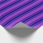 [ Thumbnail: Dark Orchid and Blue Striped/Lined Pattern Wrapping Paper ]