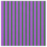 [ Thumbnail: Dark Orchid and Dark Green Colored Stripes Fabric ]