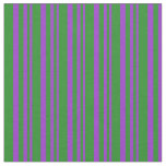 [ Thumbnail: Dark Orchid and Forest Green Stripes Pattern Fabric ]
