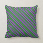 [ Thumbnail: Dark Orchid and Forest Green Stripes Pattern Throw Pillow ]