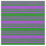 [ Thumbnail: Dark Orchid and Green Colored Lines Pattern Fabric ]