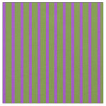 [ Thumbnail: Dark Orchid and Green Colored Striped Pattern Fabric ]