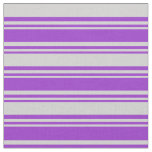 [ Thumbnail: Dark Orchid and Light Gray Colored Lined Pattern Fabric ]
