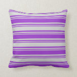 [ Thumbnail: Dark Orchid and Light Gray Colored Lined Pattern Throw Pillow ]