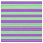 [ Thumbnail: Dark Orchid and Light Green Colored Lined Pattern Fabric ]
