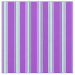 [ Thumbnail: Dark Orchid and Turquoise Lines Pattern Fabric ]