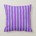 [ Thumbnail: Dark Orchid and Turquoise Lines Pattern Pillow ]