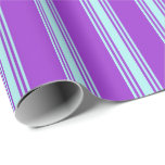 [ Thumbnail: Dark Orchid and Turquoise Lines Pattern Wrapping Paper ]