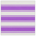 [ Thumbnail: Dark Orchid and White Colored Lined Pattern Fabric ]
