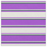 [ Thumbnail: Dark Orchid, Beige & Dark Slate Gray Stripes Fabric ]