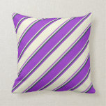 [ Thumbnail: Dark Orchid, Beige & Dark Slate Gray Stripes Throw Pillow ]